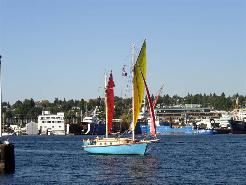 Sailing vessel Bimi on Lake Union charter voyage