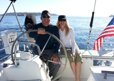 You can take the wheel if you want on a Seattle Sailing Charters cruise